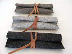 En feutre de laine minimaliste en cuir Étui-lunettes de soleil-crayon cas-gris-fait à la main-doux-multi fonctionnel - durable-cadeau de l'environnement et des grands eco
