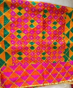 Phulkari hand embroidered scarf. Www.facebook.com/palakscreations #phulkari #palakscreations #sequins #bright #colors