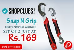 Shopclues is offering Snap N Grip Red Steel Multipurpose Wrench Set Of 2 Just Rs.169. These universal wrenches suit nuts and bolts from 9mm to 32mm. The practical tools effectively self-adjust to the size you need and can be used with all systems of measurement. The small wrench has a different-sized head on each end, while the large wrench has a single large head for bigger nuts and bolts.  http://www.paisebachaoindia.com/snap-n-grip-multi-purpose-wrench-set-of-2-just-at-rs-169-shopclues/