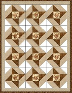 This masculine pre-cut quilt kit is perfect for the hunter, outdoors man or country guy with fussy-cut deer in a cameo surrounded with a few winter tone leaves