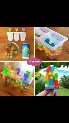Sprite and gummy bear popsicles