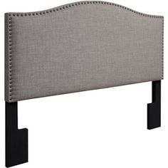 Walmart: Grayson Linen Full/Queen Headboard with Nailheads, Gray Bedroom Window Dressing, Gray Upholstered Headboard, Cloth Headboard, Headboards For Beds, Headboard Ideas, Bedroom Ideas, Teen Girl Bedrooms, Cool Beds, Trendy Bedroom