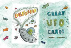 Congratulation card // Original card with UFO  // by PlankArt