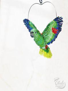Yellow-Naped Amazon Parrot Suncatcher Bird Ornament Beaded