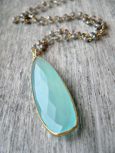 Natural Aqua Chalcedony and Blue Flash Labradorite by KattilacGems