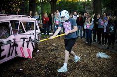 Zeta Tau Alpha sorority held their annual fall Smash Bash to benefit breast cancer awareness on the Duke main quad as part of a larger two-week effort. The event featured a donated junkyard car painted pink that people could smash for a donation and a yogurt-eating contest. There were also t-shirt and baked goods sales, as well as sign-ups to vote for Big Man on Campus at the event.