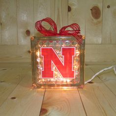 Nebraska Husker Lighted Glass Block by LoveAndSparkle on Etsy