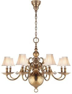 "Lillianne eight-light chandelier with hand-beveled arms, available in natural brass (shown) or silver, 44"" h. x 33"" dia., $8,100.ralphlaurenhome.com, 888-475-7674"