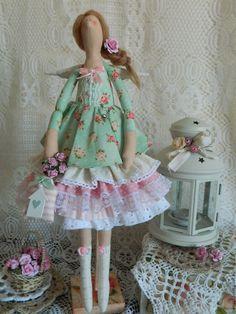 Купить Тильда фея домашнего уюта - мятный, тильда фея, тильда хранительница, тильда кукла ♡