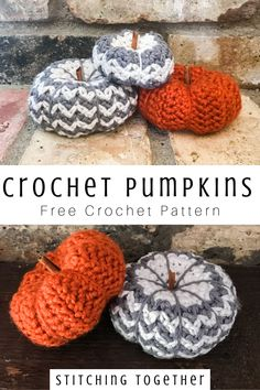 Easy and adorable crochet pumpkins you can make with this free crochet pattern. These small crochet pumpkins are a wonderful addition to your fall decor. Crochet Fruit, Crochet Fall, Holiday Crochet, Free Crochet, Crochet Motif, Crochet Craft Fair, Crochet Decoration, Crochet Crafts, Crochet Projects
