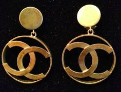 SOLD!!! Chanel Vintage Gold CC Icon Large Logo Hoop Earrings