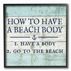 How To Have A Beach Body' Textural Art