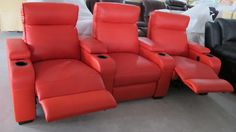 Furniture Living Room Exotic Three Pieces Red Leather Recliner Sofa Lazy Boy Leather Sofa