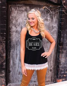 """Baylor University Bears"" women's lace trim crochet tank"
