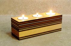Plywood Wooden Candle Holder Modern Candle by CitiNightLights