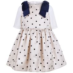 AW16 211 Polka Dot Bodice Dress Biscuit / Jet CONFIG