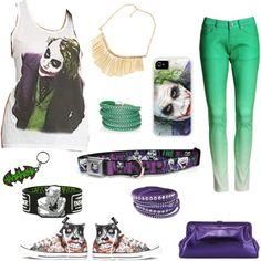 The Joker by savannahs-outfits on Polyvore featuring polyvore fashion style Converse SJP Sif Jakobs Jewellery Swarovski