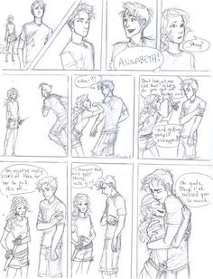 """my thoughts on how they should reunite in Son of Neptune. c: Percy Jackson and Annabeth Chase (c) Rick Riordan my scanner: """"SABATOGEEEEE!"""" Wise Girl and Seaweed Brain Percy Jackson Fan Art, Percy Jackson Books, Percy Jackson Fandom, Rick Y, Uncle Rick, Viria, Burdge Bug, Son Of Neptune, Desenhos Love"""
