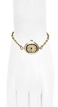#Little Black Bag         #love                     #Brass #Oval #chain #Watch #Love #Nail #Tree        Brass Oval chain Watch by Love Nail Tree                                      http://www.seapai.com/product.aspx?PID=1267576