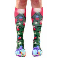 Christmas Tree Knee High Socks (68 CAD) ❤ liked on Polyvore featuring intimates, hosiery, socks, knee high socks, knee hi socks and knee socks
