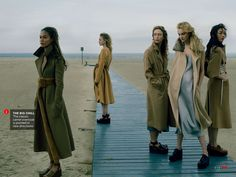 visual optimism; fashion editorials, shows, campaigns & more!: playing it cool: anna, caroline, imaan, sasha, joan, raquel, fei fei and edie by annie leibovitz for vogue september 2014