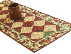 Fall Table Runner Quilted Bear Table Runner by RedNeedleQuilts