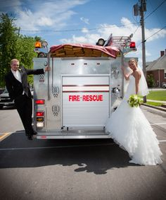We left the ceremony on a firetruck, my husband is a volunteer firefighter.#Repin By:Pinterest++ for iPad#