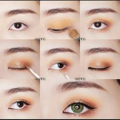 Ideas Makeup Tutorial Eyeshadow Yellow For 2019 Asian Makeup Looks, Korean Makeup Look, Asian Eye Makeup, Eye Makeup Steps, Eye Makeup Art, Copper Eyeshadow, Simple Eyeshadow, Simple Eye Makeup, Korean Makeup