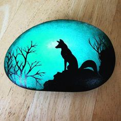 Ever watchful, love the shapes and lines of the fox. #fox #silhouette #green #teal #black #moonlight #dusk #trees #rockart #paintedstones #ledgend #myth #magical #totem #spirit #vsco #potd #ig_shotz #ig_captures #capture #mountain #topoftheworld #landscape #madeinwales #handmade