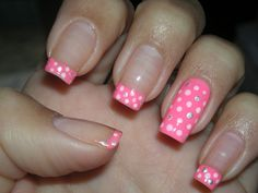 Decorated nails, always fashionable French nails - 30 Trendy Nail Art - French Nails, Pink French Manicure, French Pedicure, Pedicure Nail Art, Manicure Tips, Polka Dot Nails, Pink Nails, Polka Dots, Nagellack Trends