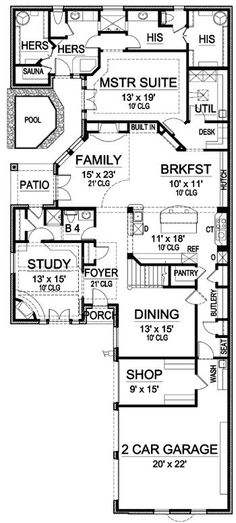 His and Her Bathrooms - 36170TX   European, Tudor, Luxury, Narrow Lot, Photo Gallery, Premium Collection, 1st Floor Master Suite, Butler Walk-in Pantry, CAD Available, Den-Office-Library-Study, Media-Game-Home Theater, PDF, Corner Lot   Architectural Designs