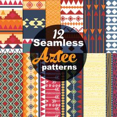 Tribal Aztec Seamless Patterns, Bright Aztec Colors, INSTANT DOWNLOAD, commercial use ok  Seamless and ready for tiling, these colorful aztec