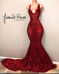 Mermaid Red Sequins Prom Dresses 2018 V-neck Sleeveless Long Train Sexy Evening Gown, Long Prom Dress, Black Girl Prom Dresses, Sequin Prom Dresses, V Neck Prom Dresses, Prom Dresses 2018, Mermaid Prom Dresses, Cheap Prom Dresses, Formal Dresses, Sexy Dresses, Elegant Dresses