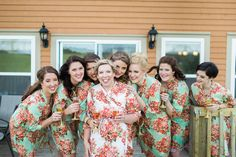 floral bridesmaid robes / the wilds golf course wedding / floral robes / bridesmaid robes / blush wedding inspiration Bridesmaid Robes, Blush, Wedding Inspiration, Golf, Saree, Couples, Floral, Fashion, Florals