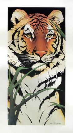 Japanese Embroidery Tiger Tiger - Tiger print signed by artist. Print only not framed. Watercolor Tiger, Tiger Painting, Tattoo Watercolor, Big Cats Art, Cat Art, Art Drawings Sketches, Animal Drawings, Drawing Animals, Horse Drawings