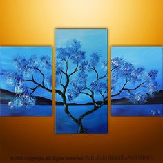 CUSTOM PAINTING Abstract Modern Landscape Asian Tree Art by Gabriela Stauffer 36x24