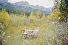 A table for two with a beautiful mountain view. So romantic. Photography by Jessilyn Wong Photography Wedding Theme Inspiration, Wedding Themes, Wedding Colors, Wedding Decorations, Table Decorations, Camp Wedding, Dream Wedding, Wedding Supplies, Party Supplies