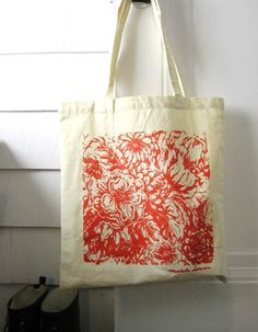Orange Floral Cotton Canvas Tote Bag  Screen by Michelebuttons, $16.00. USA