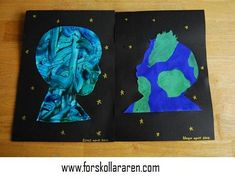 Earth day craft we are all connected to the Earth: finger paint or paint using blue and green on paper, cut out child's silhouette, glue to black construction paper with gold/silver stars. Earth Day Projects, Earth Day Crafts, Nature Crafts, Earth And Space Science, Earth From Space, Earth Hour, Black Construction Paper, Green School, Earth Day Activities