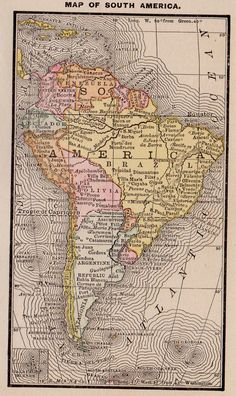 Rare SOUTH AMERICA Map of South America Antique by plaindealing