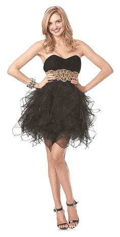 Black Cocktail Dress Strapless Gold Embroidered Waistband Short Tulle Skirt (2 Colors/ Size XS to 2 XL)#6034P