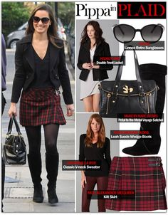 Black blazer & plaid skirt  after hours counselor casual:)