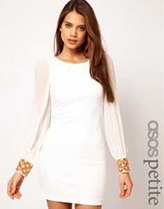 ASOS PETITE Exclusive Body-Conscious Dress With Embellished Cuff  $75   --- don't know about the beading on the cuffs though...