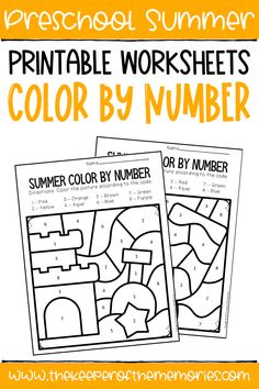 These Color by Number Summer Preschool Worksheets are perfect for practicing early math skills like number identification with your preschooler. Get yours today!#preschoolworksheets #colorbynumber #counting #preschoolmath #numbers Sensory Activities Toddlers, Kids Learning Activities, Preschool Themes, Preschool Worksheets, Preschool Activities, Homeschooling Resources, Preschool Classroom, Classroom Decor, Teaching Ideas