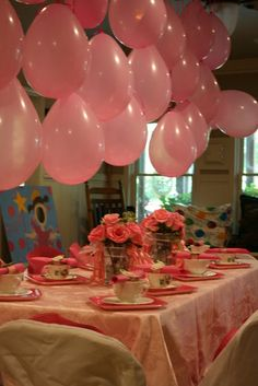 Pinkalicious Birthday Party ideas. I like the way the balloons are hanging