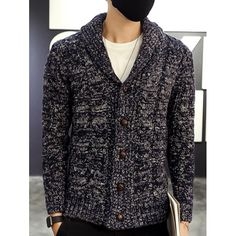 $13.85 Shawl Collar Cable Knitted Cardigan - Cadetblue 2xl