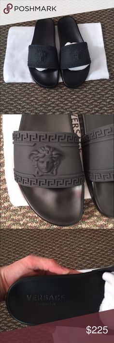 Versace Medusa Black Side Beach Sandals Size 9 Only 2 remaining!  Retail 295, (Sold Out) Brand new without box size 9 Versace PVC slide sandal. Medusa-head and Greek Key embossed band. Cushioned footbed with logo. Made in Italy. Versace Shoes Slippers