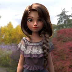 ArtStation - Spring, Javier Benver Cartoon Styles, 3d Cartoon, Child Actresses, Girls Braids, Instagram Girls, Zbrush, Spring, Model, Hair