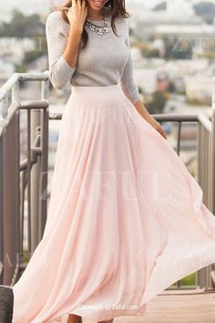 Achieve that girly look you've always wanted with this pink chiffon maxi skirt. Pair it with your layered top for a look perfect for fall. Work Fashion, Modest Fashion, Fashion Outfits, Apostolic Fashion, Street Fashion, Fashion News, Women's Fashion, Classy Fall Outfits, Cute Outfits