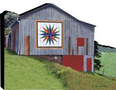 Quilt Barn Mariners Compass Freestanding Woodblock Collectible